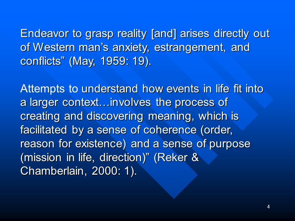 Endeavor to grasp reality [and] arises directly out of Western man's anxiety, estrangement, and conflicts (May, 1959: 19).